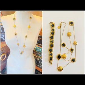 Vintage Anne Klein Gold Black Enamel Necklace Set